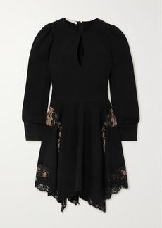 Stella McCartney Net Sustain Celeste Asymmetric Lace-paneled Cady Mini Dress