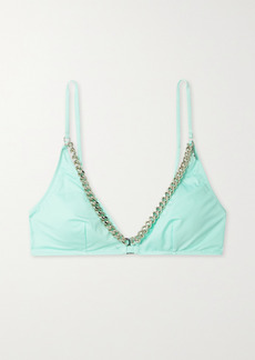 Stella McCartney Net Sustain Chain-embellished Triangle Bikini Top