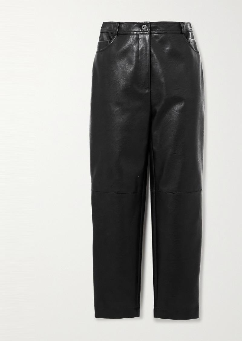 Stella McCartney Net Sustain Hailey Vegetarian Leather Straight-leg Pants