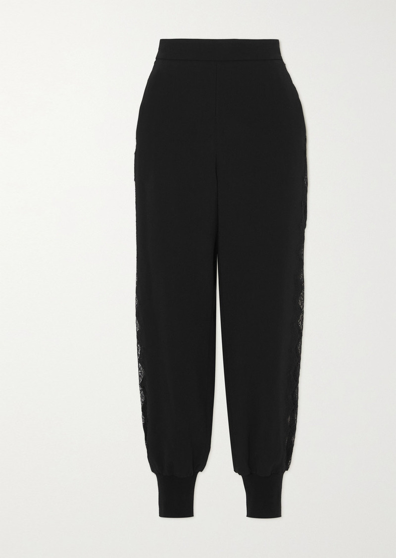 Stella McCartney Net Sustain Julia Lace-trimmed Stretch-cady Track Pants