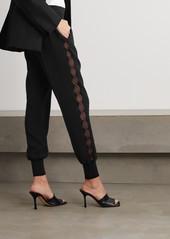 Stella McCartney Net Sustain Julia Lace-trimmed Stretch-cady Track Pants