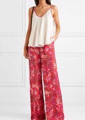 Stella McCartney Net Sustain Printed Crepe De Chine Wide-leg Pants