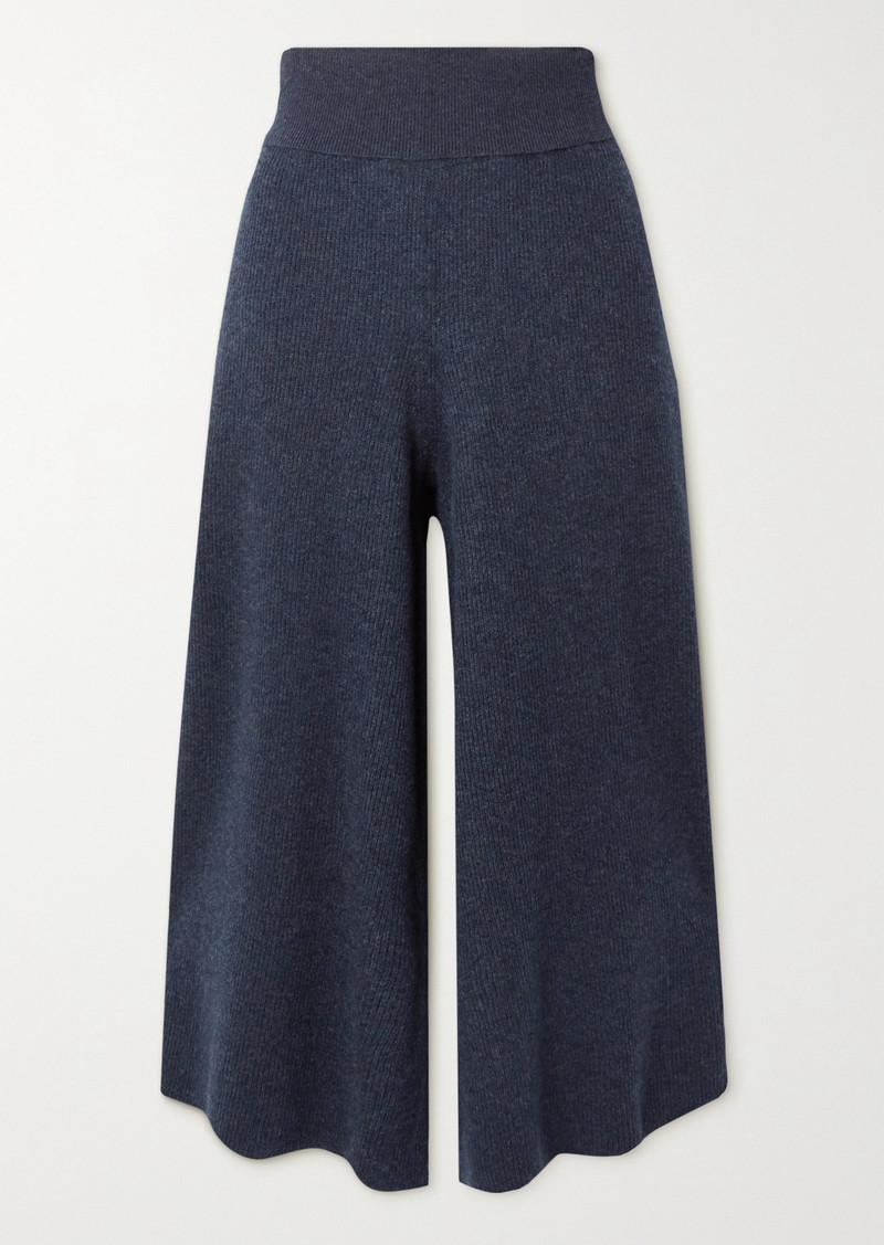Stella McCartney Ribbed Melange Wool And Alpaca-blend Culottes