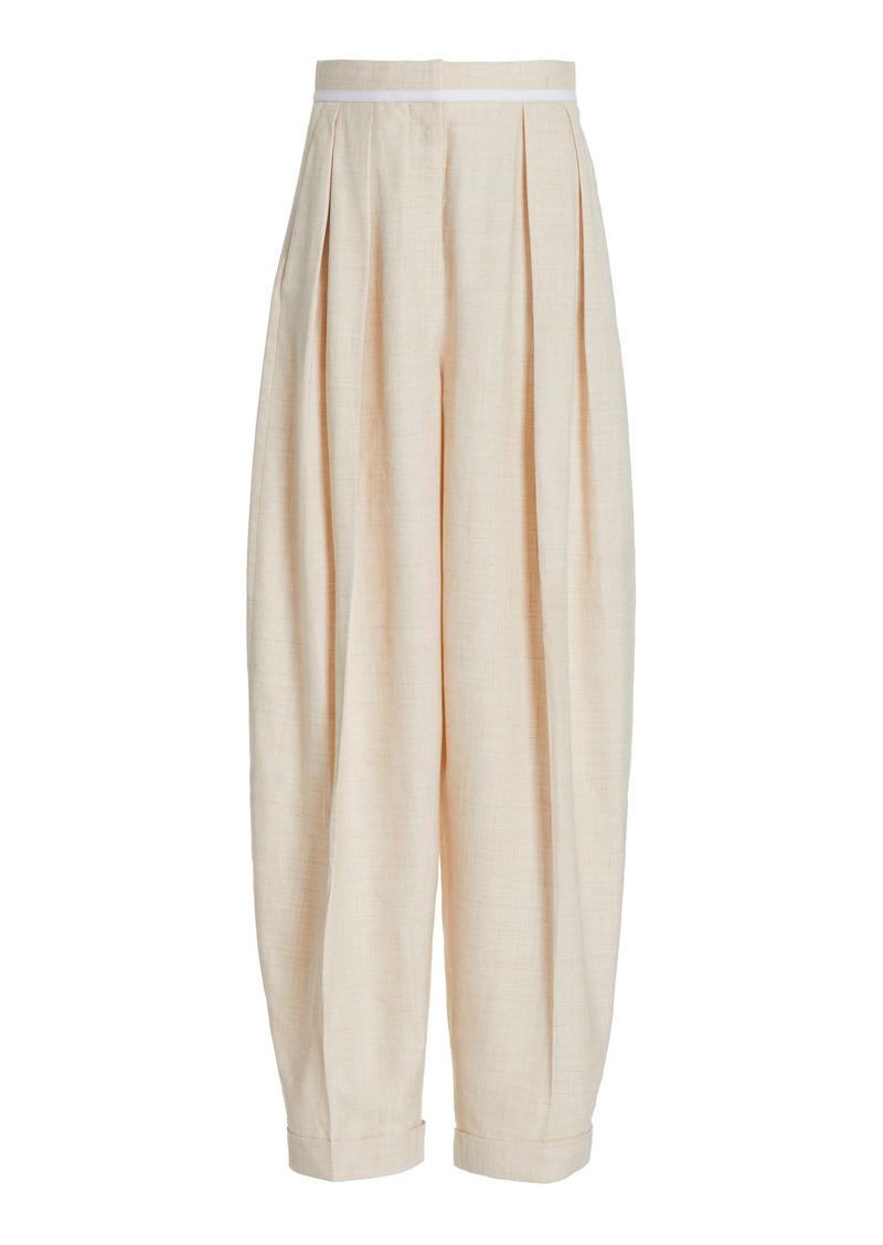Stella McCartney - Women's Ariana Pleated Melange Twill Trousers - White - Moda Operandi