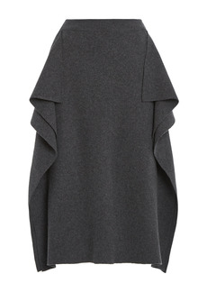Stella McCartney - Women's Draped Wool Midi Skirt - Grey - Moda Operandi