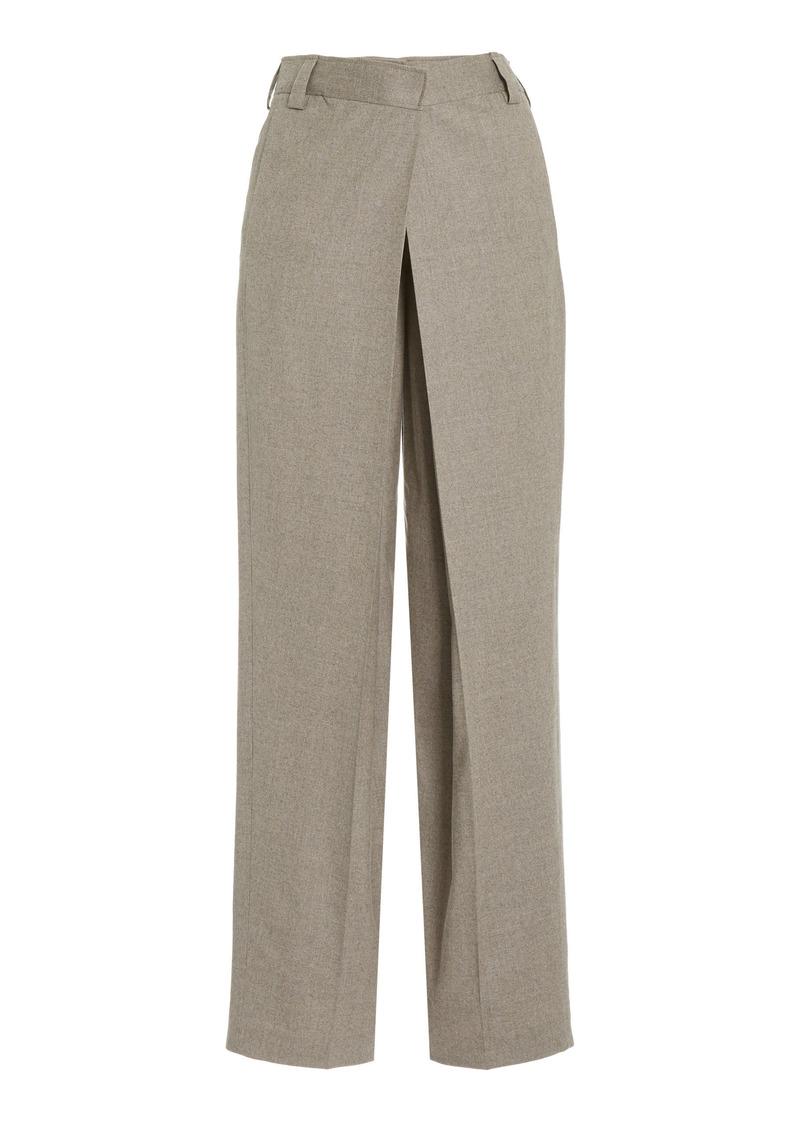 Stella McCartney - Women's Wool Crossover Straight-Leg Trousers - Grey - Moda Operandi