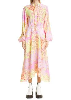 Stella McCartney Alyssa Floral Print Long Sleeve Silk Midi Dress