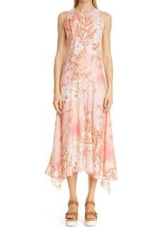 Stella McCartney Anabelle Coral Print Asymmetrical Silk Dress