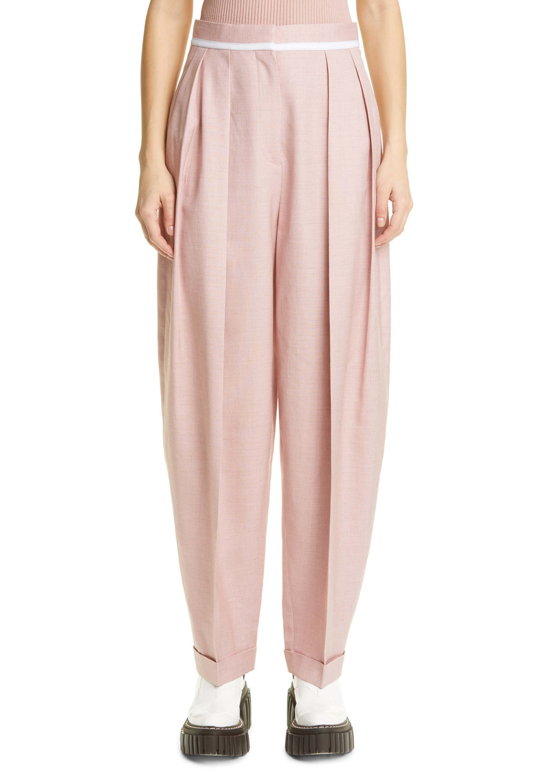Stella McCartney Ariana Pleated Ankle Twill Pants