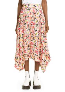 Stella McCartney Ashlyn Floral Print Handkerchief Hem Silk Skirt