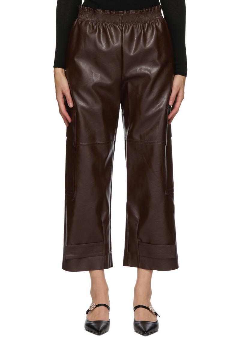 Stella McCartney Burgundy Faux-Leather Sylvia Trousers