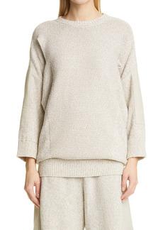 Stella McCartney Cutout Mixed Media Cotton & Linen Blend Sweater