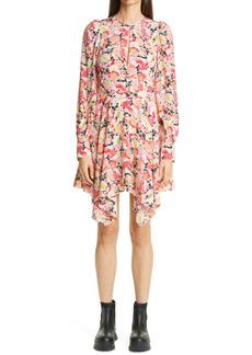 Stella McCartney Felicity Floral Print Long Sleeve Handkerchief Hem Dress
