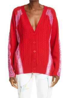 Stella McCartney Lace inset Cable Wool Cardigan
