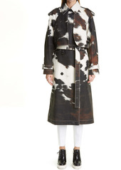 Stella McCartney Leanna Cow Print Bonded Trench Coat