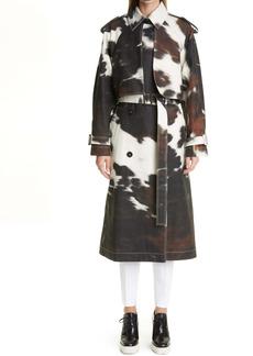Stella McCartney Leanna Cow Print Bonded Trench Coat
