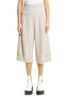 Stella McCartney Mixed Media Crop Wide Leg Sweater Pants
