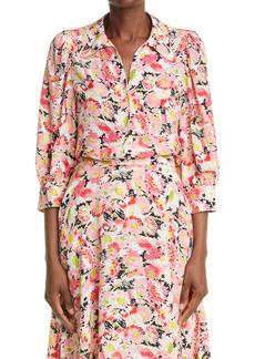Stella McCartney Reese Floral Print Silk Blouse