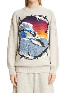 Stella McCartney Wave Intarsia Cotton Blend Sweater
