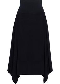 Stella Mccartney Woman Asymmetric Pointelle-knit Wool-blend Midi Skirt Black