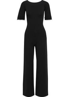 Stella Mccartney Woman Bead-embellished Ponte Wide-leg Jumpsuit Black