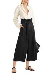 Stella Mccartney Woman Belted Cropped Wool Wide-leg Pants Black