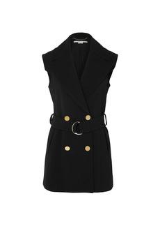 Stella Mccartney Woman Belted Double-breasted Wool-blend Vest Black