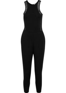 Stella Mccartney Woman Cropped Mesh-trimmed Ponte Jumpsuit Black