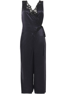 Stella Mccartney Woman Cropped Wrap-effect Lace-trimmed Silk-satin Jumpsuit Navy