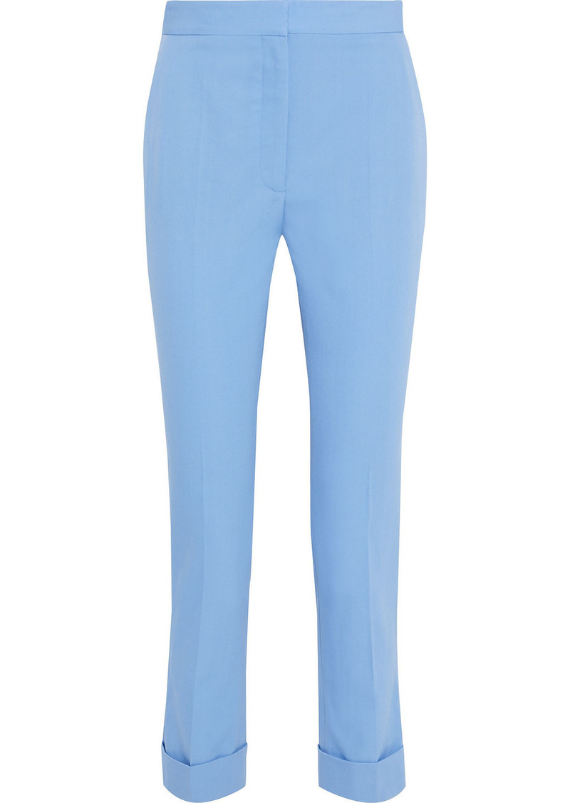 Stella Mccartney Woman Emery Cropped Wool-twill Slim-leg Pants Light Blue