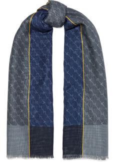 Stella Mccartney Woman Frayed Monogram-print Wool And Silk-blend Scarf Slate Blue