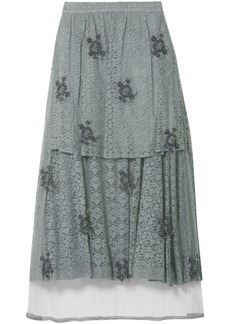 Stella Mccartney Woman Isabella Layered Embellished Tulle And Leavers Lace Maxi Skirt Grey Green