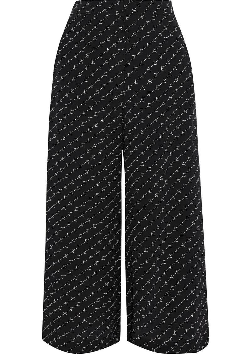 Stella Mccartney Woman Jaycee Monogram-print Silk Crepe De Chine Culottes Black