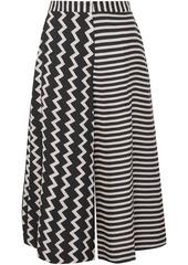 Stella Mccartney Woman Jaycee Paneled Striped Silk-jacquard Culottes Black