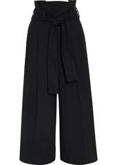 Stella Mccartney Woman Maggie Cropped Belted Canvas Wide-leg Pants Black
