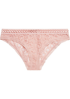 Stella Mccartney Woman Mia Remembering Stretch-lace Low-rise Briefs Baby Pink