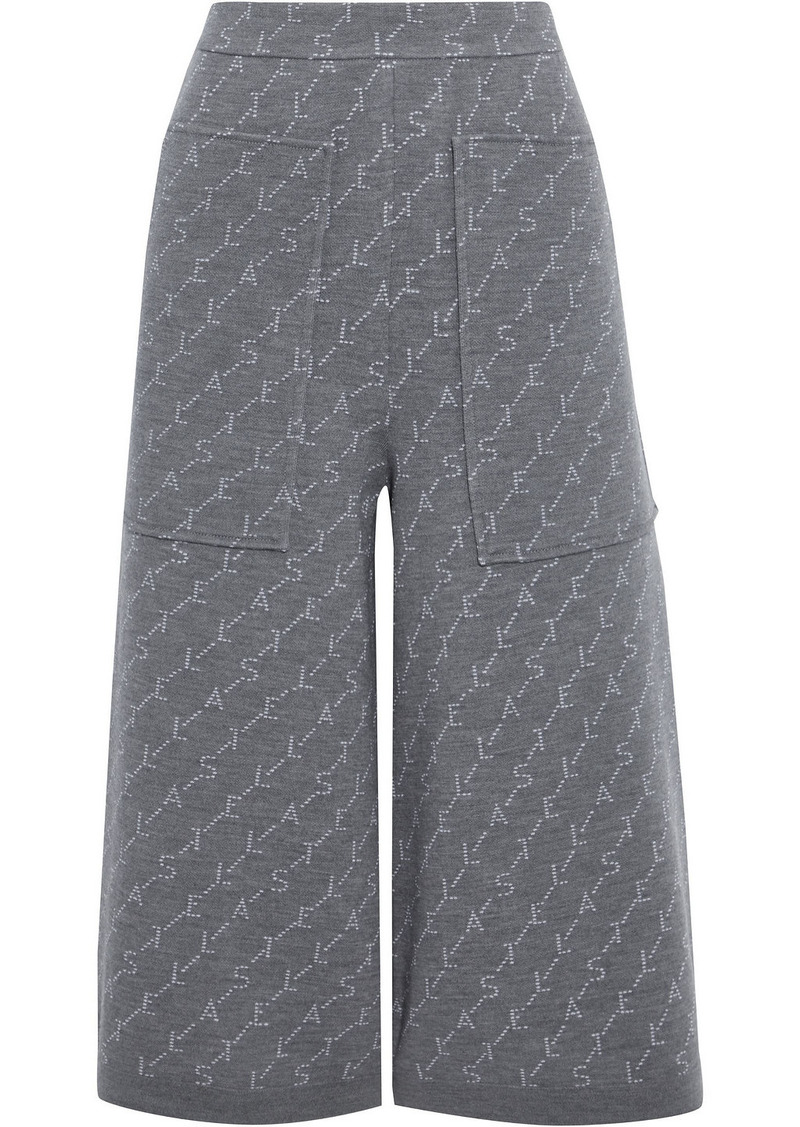 Stella Mccartney Woman Monogram Wool-blend Jacquard Culottes Anthracite