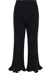 Stella Mccartney Woman Myles Ruffled Wool-blend Kick-flare Pants Black