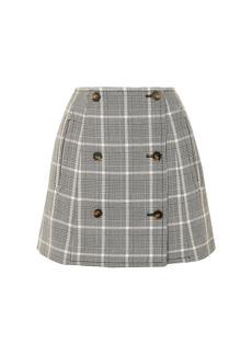 Stella Mccartney Woman Prince Of Wales Checked Wool Mini Skirt Black
