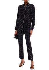 Stella Mccartney Woman Printed Silk Crepe De Chine Tapered Pants Black