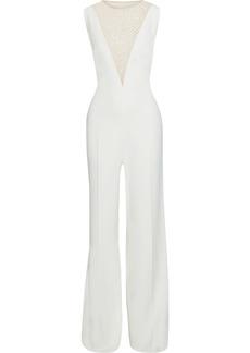 Stella Mccartney Woman Robinvale Embellished Tulle-paneled Stretch-crepe Jumpsuit White
