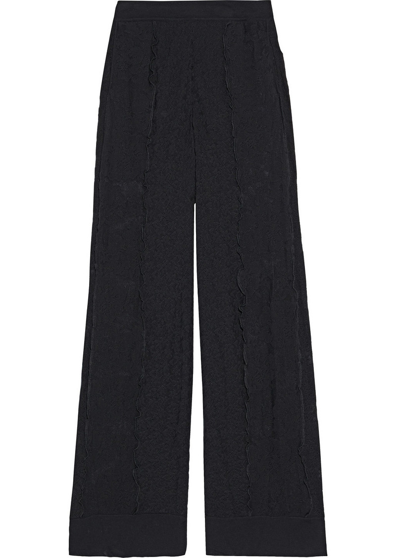 Stella Mccartney Woman Ruffle-trimmed Cotton-blend Lace Wide-leg Pants Black
