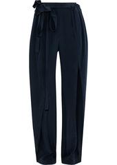 Stella Mccartney Woman Ruffle-trimmed Silk Wide-leg Pants Navy