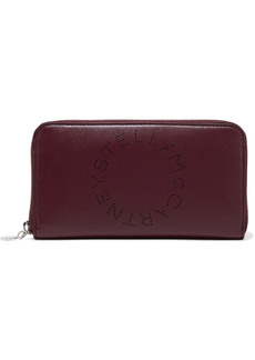 Stella Mccartney Woman Stella Logo Perforated Faux Leather Continental Wallet Plum