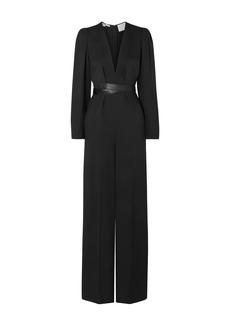 Stella Mccartney Woman Vegetarian Leather-trimmed Twill Wide-leg Jumpsuit Black
