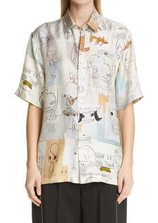 Stella McCartney x Yoshitomo Nara Ricky Print Silk Button-Up Shirt