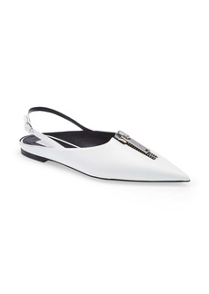 Stella McCartney Zipit Pointed Toe Slingback Flat (Women)