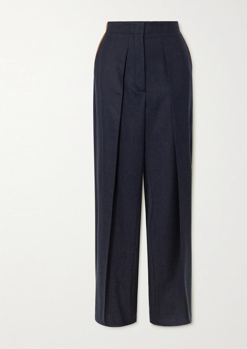 Stella McCartney Vegetarian Leather-trimmed Pleated Wool-twill Straight-leg Pants