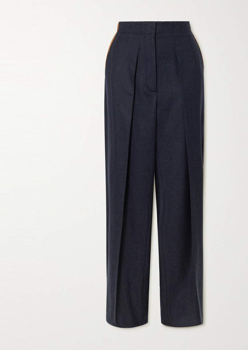 Stella McCartney Vegetarian Leather-trimmed Pleated Wool-twill Straight-leg Pants