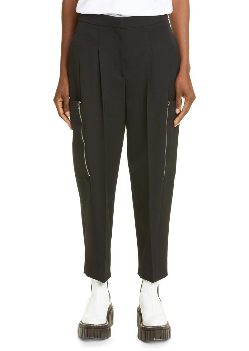 Women's Stella Mccartney Liv Zip Detail Wool Twill Ankle Trousers